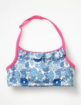 Blue Wallpaper Floral Ruffle Bikini Top