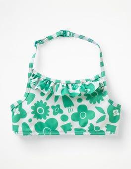 Jungle Green Pop Floral Ruffle Bikini Top