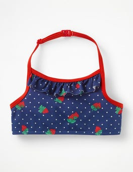 Deep Sea Blue Strawberry Spot Ruffle Bikini Top