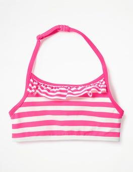 Coral Pink/Ivory Ruffle Bikini Top