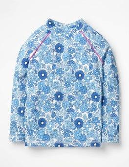 Blue Wallpaper Floral Long-sleeved Rash Guard
