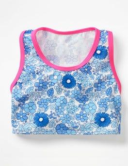 Blue Wallpaper Floral Surf Bikini Top