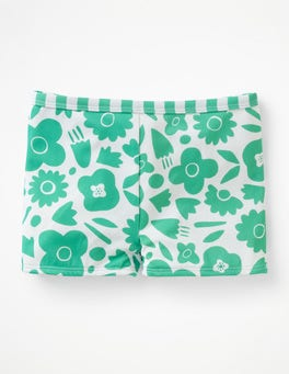 Jungle Green Pop Floral Swim Shorts