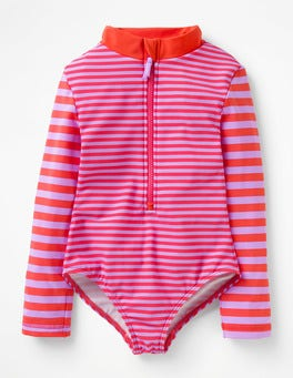 Lavender/Indie Red Stripy Long-sleeved Swimsuit
