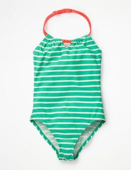 Swim Green/Ivory Halterneck Swimsuit