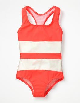 Neon-Grapefruitrosa Badeanzug mit Racerback