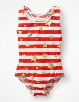 Sunset Red/Gold Star Racer-back Swimsuit