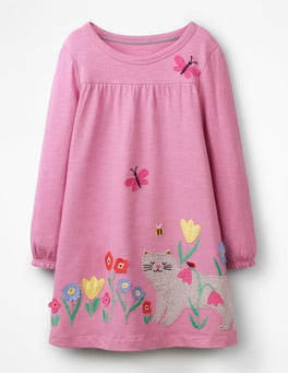 Lilac Pink Cat Big Appliqué Dress