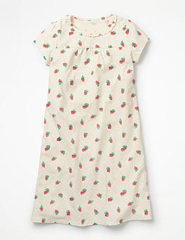 Ivory Strawberry Spot Printed Nightgown