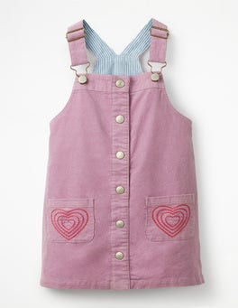 Delphinium Lilac Hearts Button-front Dungaree Dress