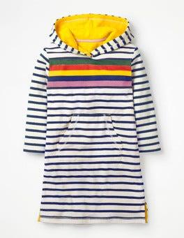 Dunkelblau, Regenbogenstreifen Frottee-Strandkleid mit Streifen