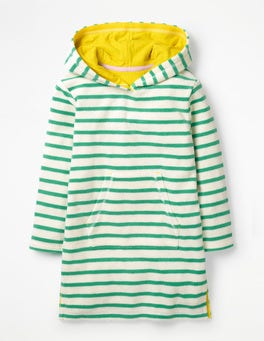 Jungle Green/Ivory Stripy Towelling Beach Dress