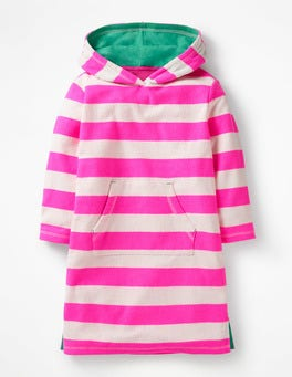 Festival Pink/Ivory Stripy Towelling Beach Dress