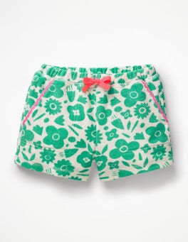 Jungle Green Pop Floral Towelling Shorts