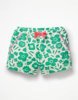Dschungelgrün, Knalliges Blumenmuster Frottee-Shorts