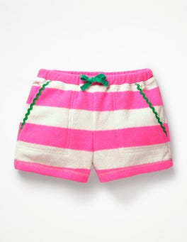 Festivalrosa/Naturweiß Frottee-Shorts