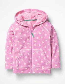 Lilac Pink Star Towelling Hoodie
