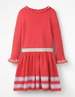 Beam Red Ribbed Stripy Knitted Dress