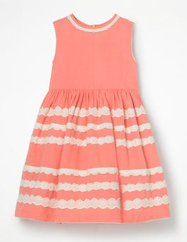 Soft Peach Pink Pretty Lace Detail Dress