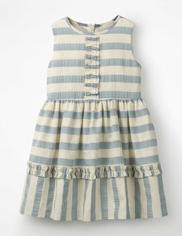 Ashley Blue/Ivory Stripe Textured Stripe Ruffle Dress