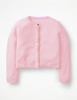 Parasol Pink Cashmere Sequin Cardigan