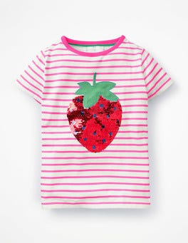 Ivory/Festival Pink Strawberry Colour-change Sequin T-shirt