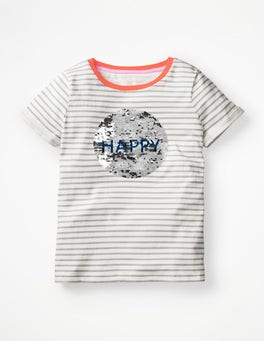 Ivory/Grey Marl Smile Colour-change Happy T-shirt