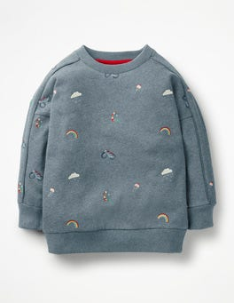 Blue Marl Embroidery Embroidered Slouchy Sweatshirt