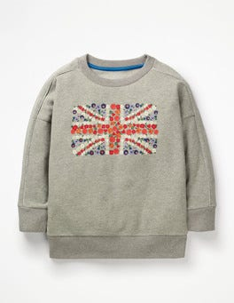 Grey Marl Flag Embroidered Slouchy Sweatshirt