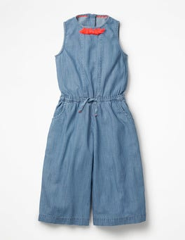 Chambray Tassel Detail Culotte Jumpsuit
