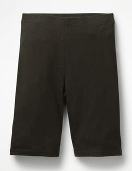 Black Plain Jersey Knee Shorts