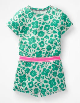 Green/White Surf Floral Colour Pop Jersey Playsuit