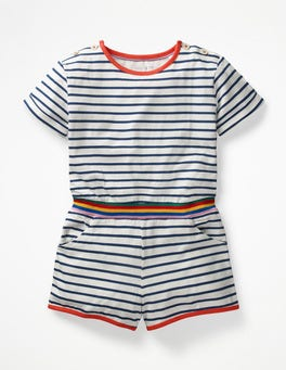 Ivory/College Blue Stripe Colour Pop Jersey Romper