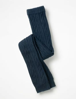 Navy Cable Footless Tights