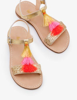 Gold Metallic Tassel Sandals