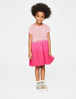 Tropical Coral Ombré Stripe Fun Jersey Dress