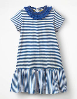 Duke Blue/Ivory Ruffle Neck Jersey Dress