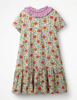 Multi Jolly Floral Ruffle Neck Jersey Dress