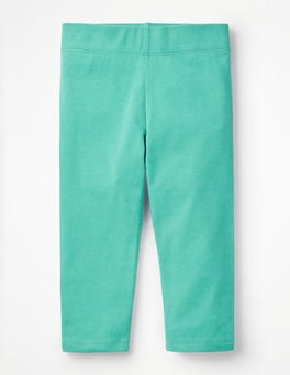 Sea Breeze Green Plain Cropped Leggings