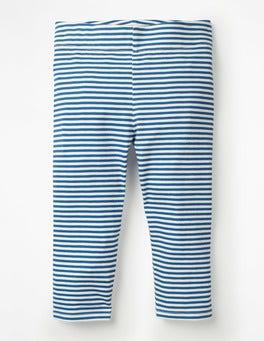 Elisabethanisches Blau/Weiß Kurz geschnittene Leggings mit Streifen und Punkten