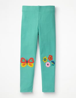 Sea Breeze Green Flowers Appliqué Leggings