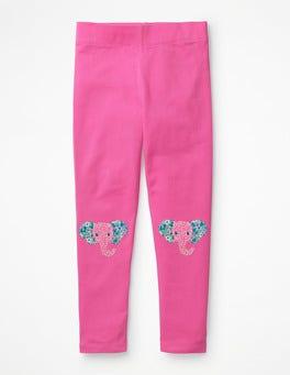 Tickled Pink Elephants Appliqué Leggings