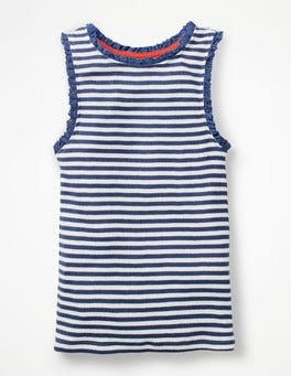 White/Starboard Blue Stripe Lace Trim Ribbed Vest