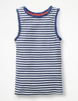 White/Starboard Blue Stripe Lace Trim Ribbed Tank
