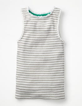 White/Grey Marl Stripe Lace Trim Ribbed Vest