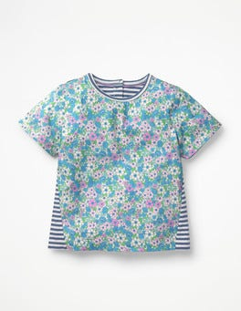 Sea Breeze Blue Forget-Me-Not Hotchpotch Printed T-shirt