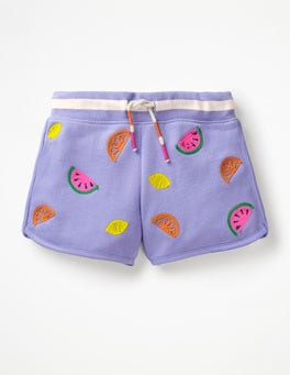 Parma Violet Fruits Embroidered Jersey Shorts