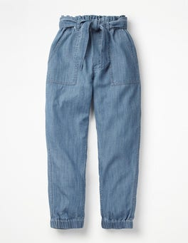 Chambray Tie-waist Pants