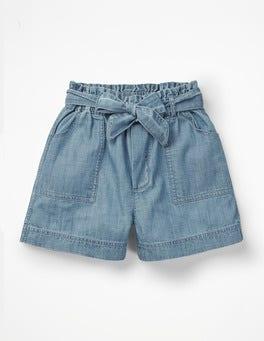 Chambray Tie-waist Shorts
