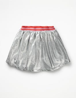 Iridescent Silver Shiny Metallic Skirt